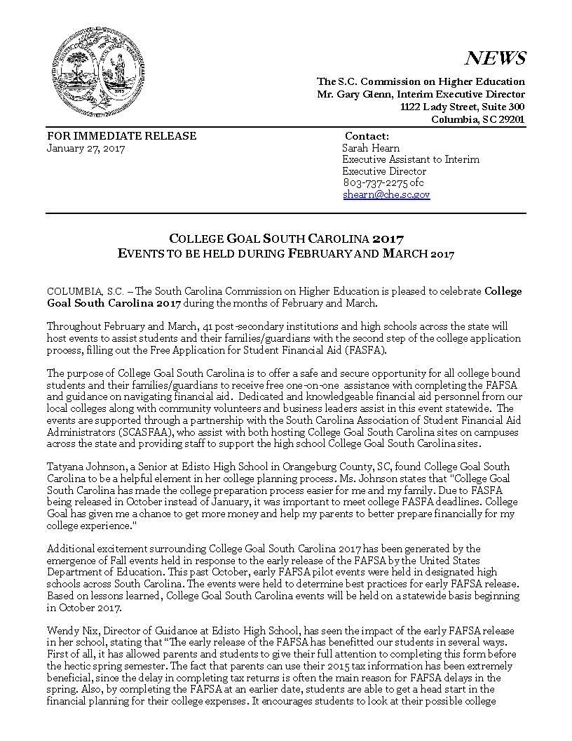 hosting a college goal sc event press release